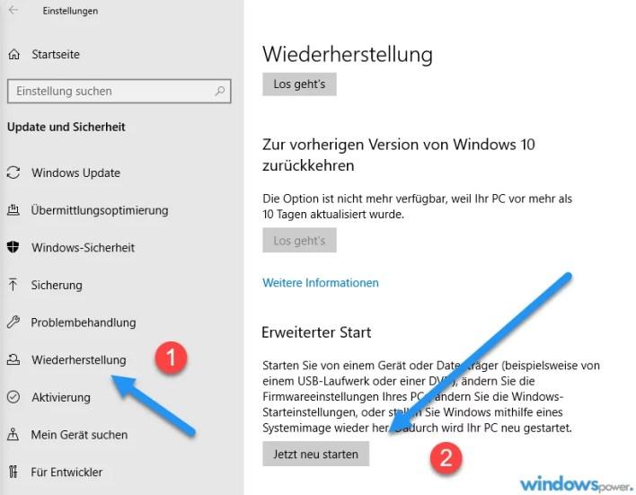 bios uefi von windows 10 aus starten