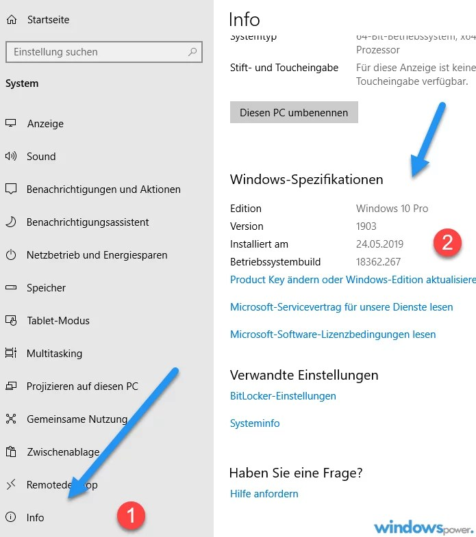 windows basisinformationen