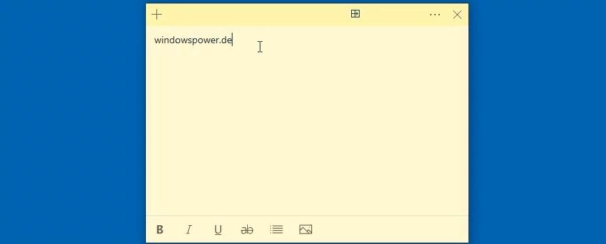 kurznotiz windows 10