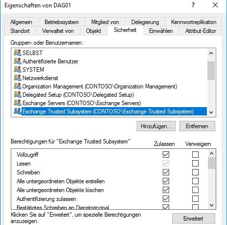 Exchange Trusted Subsystem Vollzugriff auf das DAG-Konto einräumen.