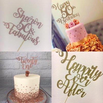 Bespoke Glitter Card Cake Topper