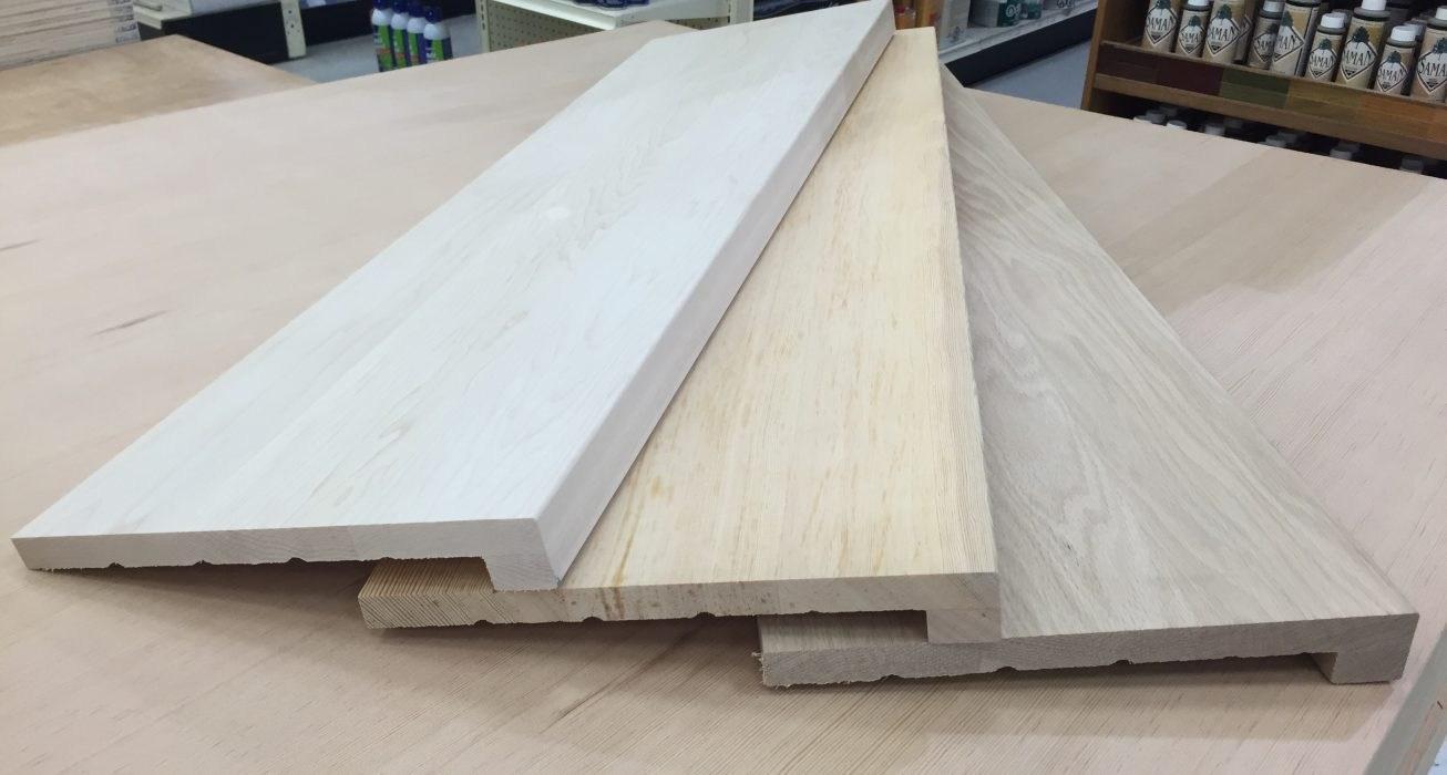 860 0201 860 0217 Modern Edge Hardwood Stair Treads »Windsor   Modern Wood Stair Treads   Country Style   Box   Square Edge   Eased   Open Riser