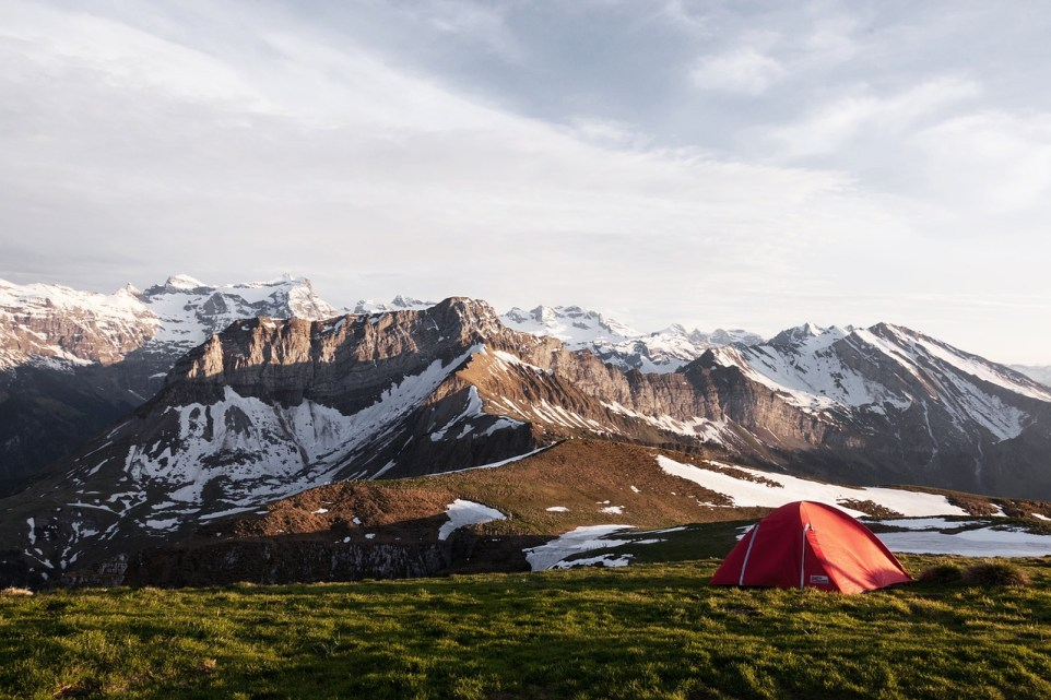 Wild camping in front of mountains