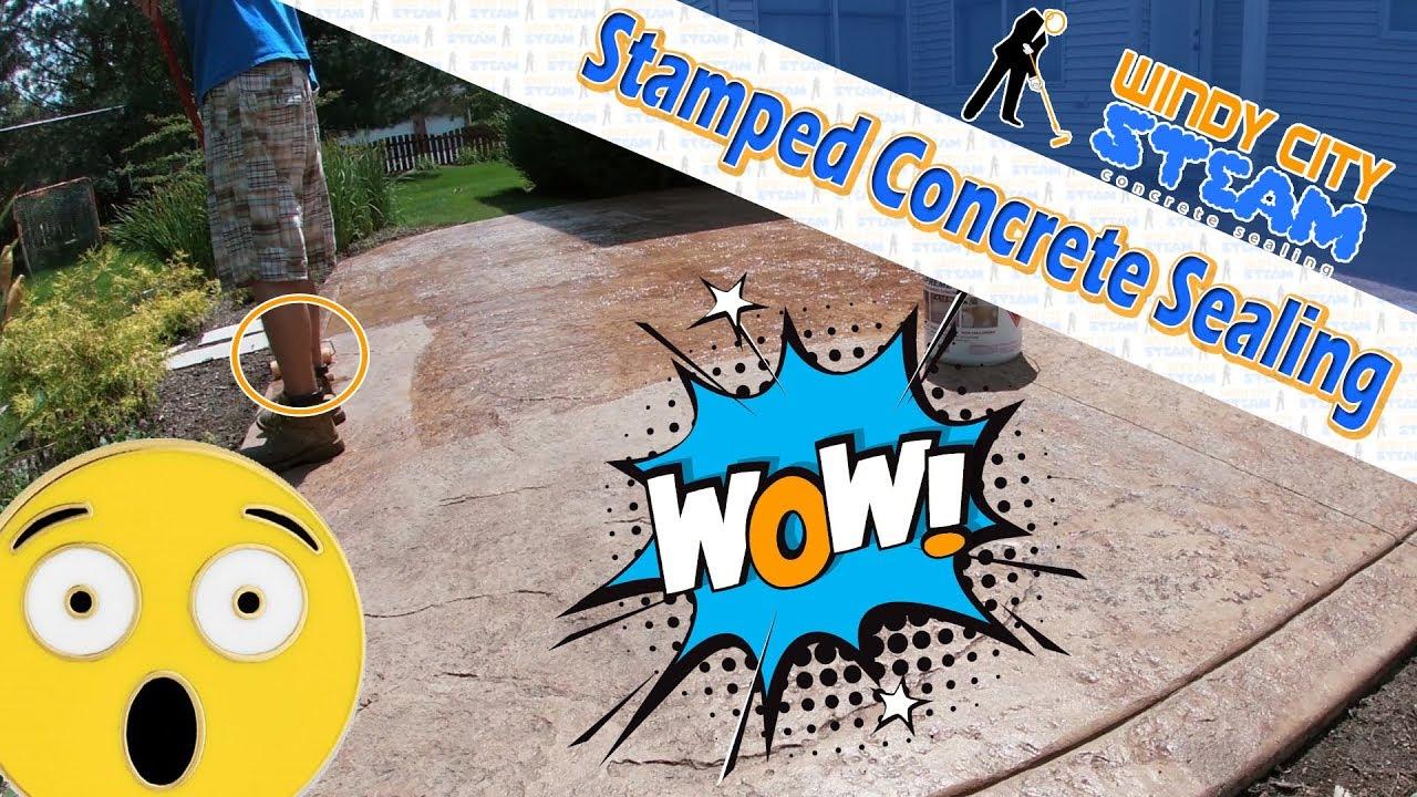 stamped concrete sealing applying