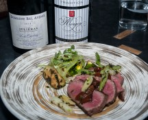 American Wagyu NY Strip with charred squash, summer beans, porcini, and ume shiso. Paired with Domaine Bel Avenir, Les Capitans, Juliénas 2010 & Domaine Pierre Savoye, CôteDu Py, Morgon 2011. (Edgar Solís)