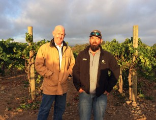Napa Valley Harvest 2015 - Doug Springer Vineyard Manager (left) and Ben Vyborny Game Farm Vineyard owner (right) (Julie Santiago)
