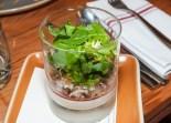 Peekytoe crab cocktail, horseradish pannacotta, spicy tomato syrup, Meyer lemon