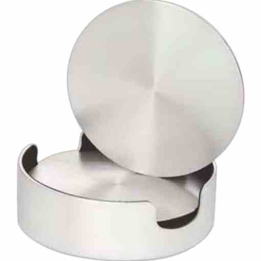 Aluminum Coasters & Cushioned Base holder – set of 4