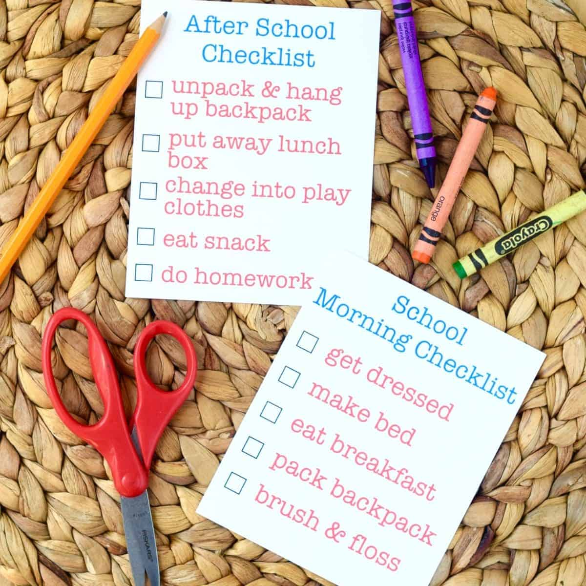 Before And After School Checklist Printable