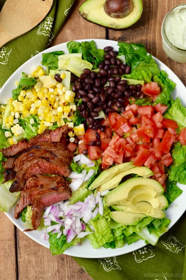 This Southwestern Steak Salad comes together in under thirty minutes with easy to find ingredients and makes for a PERFECT grilled dinner!