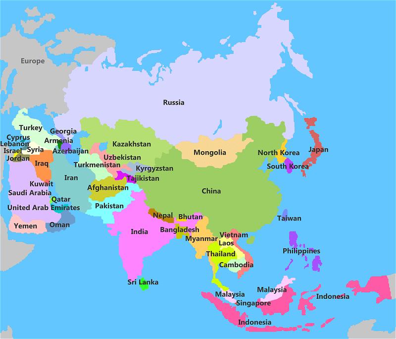 Resultado de imagem para map of asia