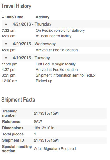 Club W Fedex Tracking Number