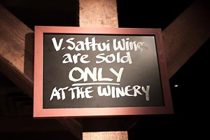 Sign in tasting room