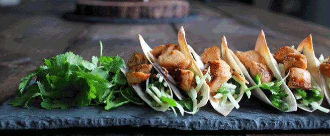 Teriyaki Chicken Wonton Tacos