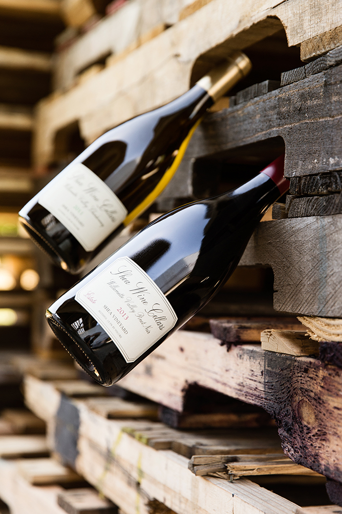 Shea Wine Cellars' Pinot Noir and Chardonnay offerings / Photo by Chris Low