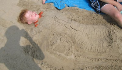 It was tempting to leave Gavin to take a nap in the sand.