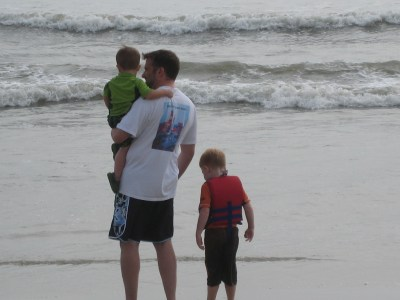 All three of my guys watching the waves come in.
