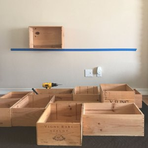 My Wine Box Shelf Project – Mounting The boxes