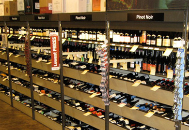 Retail Wine Display   Liquor Store Shelving   Wine Display Racks Ultra Span Shelving with Wine Boxes