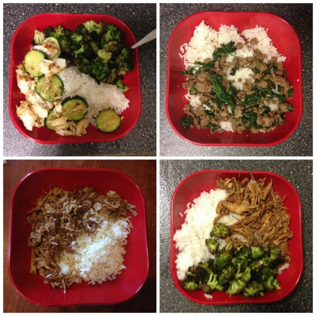 Basic dinner template: Start with gobs of rice, add chicken thighs/bison or ground beef/pulled pork, then zucchini/broccoli/spinach/veggie-less because I sometimes just don't' feel like veggies..
