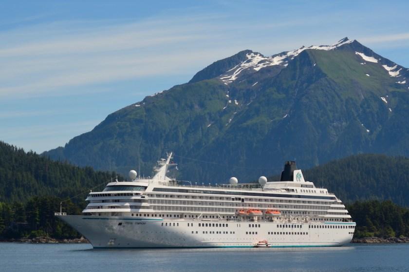 Crystal Cruises Symphony anchored in Alaska