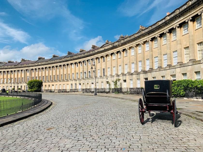 Royal Crescent Bath Carriage for Bridgerton Filming