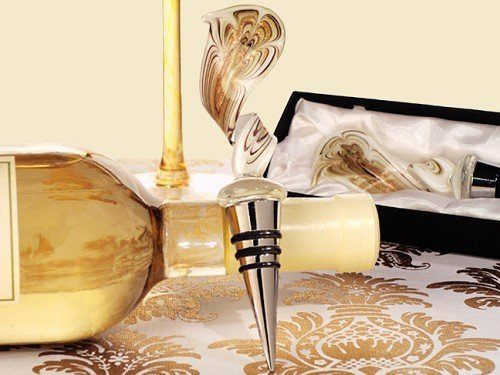 Murano Art Deco Elegant Gold Swirl Wine Stopper