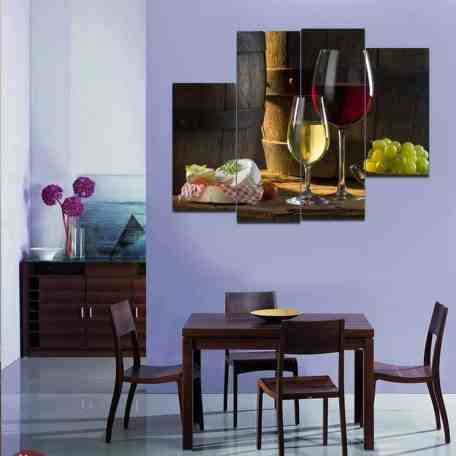 Canvas Print Wine Still Life Oil Painting
