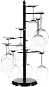 MyGift Freestanding Tabletop Stemware Rack / Spiraling 10 Wine Glass Holder, Black