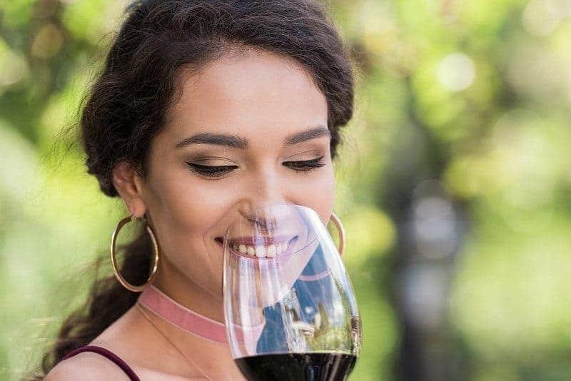 enjoying red wine