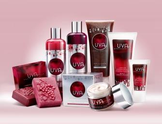 Bodegón de productos cosméticos a base de uva.