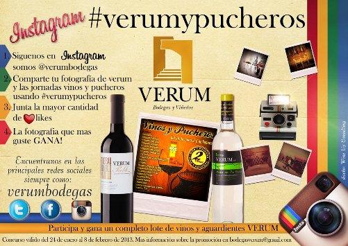 cartel #verumypucheros promocionando las jornadas de vinos y pucheros en Tomelloso