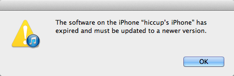 the software on the iphone has expired