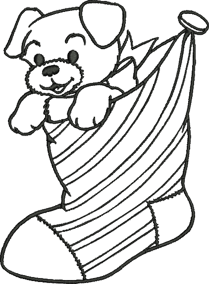 Christmas Puppy In Sock To Color Coloring Machine