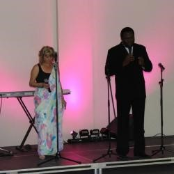 Two people on stage