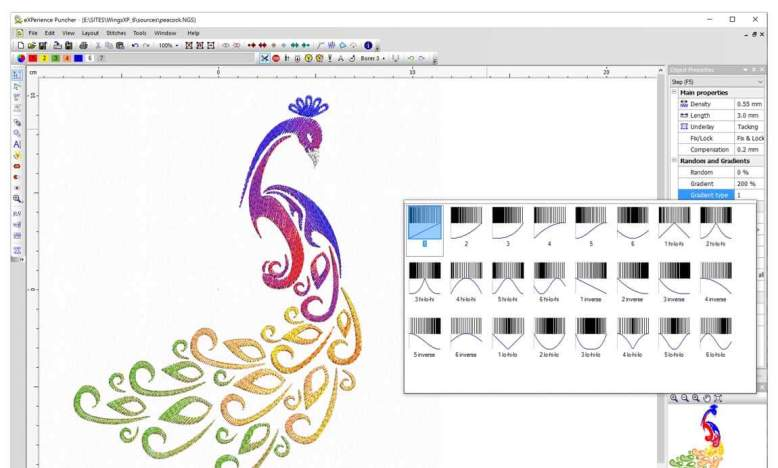 Advanced color blending: gradient on step-piping fills