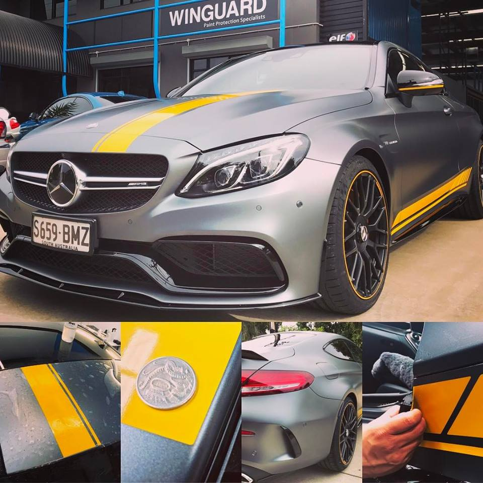 mercedes, c63, c63s, customised, car bra, stone chip film, paint protection film, winguard, adelaide, matte paint, adelaide, matt paint, decal, tint, XPEL, Ultimate, Stealth