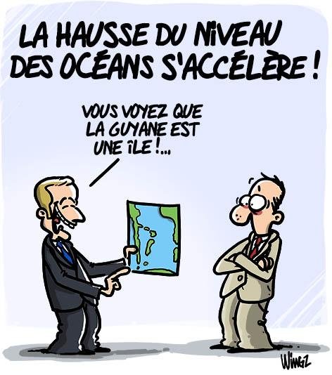 montée eaux niveaux océans réchauffement climatique
