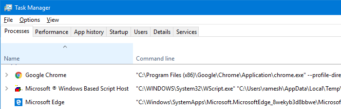 Configure Task Manager to Display Full Path and Command Line
