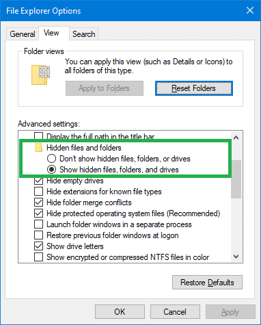 Show Hidden Files and Folders Missing or Does Not Work » Winhelponline