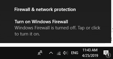 windows firewall turned off notification