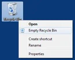 Emply Recycle bin menu
