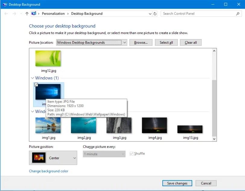 classic desktop background panel windows 10
