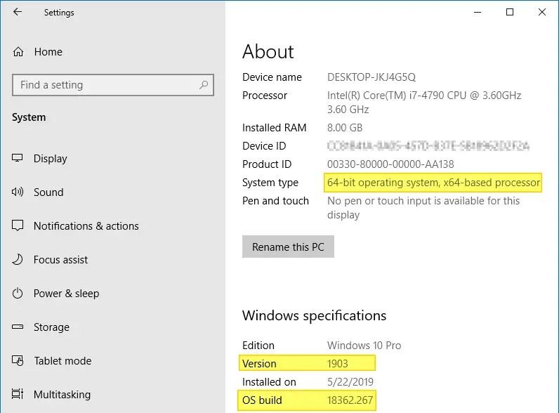find windows 10 version build bitness settings system