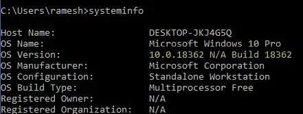 find windows 10 version build bitness systeminfo