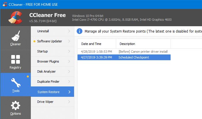 delete individual system restore points in windows - ccleaner