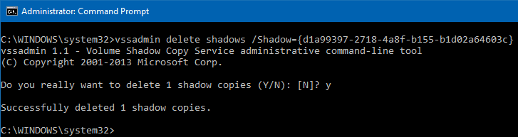 delete shadow copies vssadmin