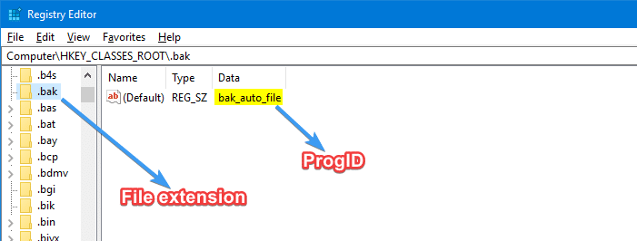 find progid for a file type registry