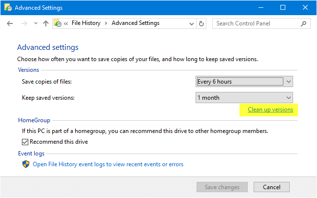 How to Cleanup Older File History Backups in Windows 10