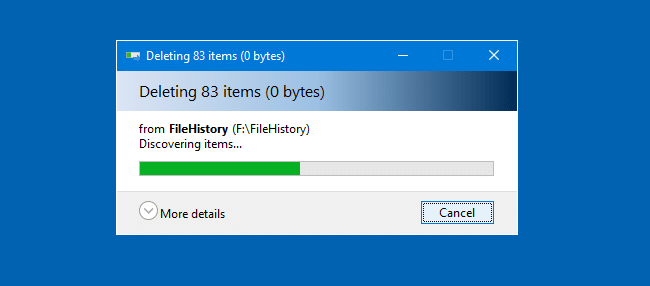 file history clean up old versions